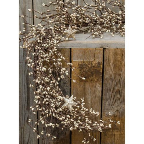 Platinum Pip Berries with Stars 4.25 ft Faux Garland