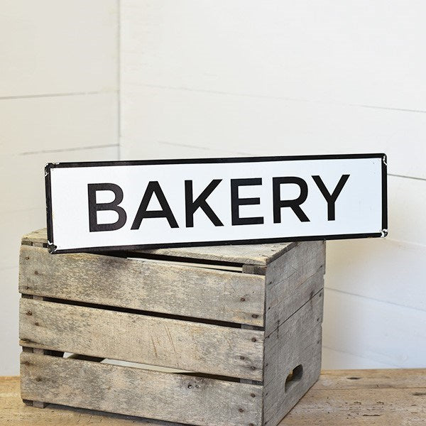 "BAKERY Tin Black and White 24"" Sign"
