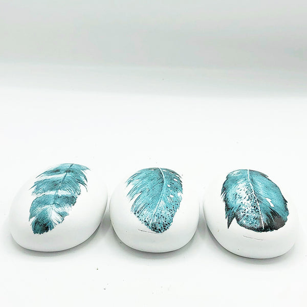 "Set of 3 Blue Feather 4"" Decorative Stones"