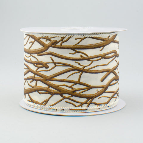"Winter Brown Branches on Cream Ribbon 2.5"" W x 10 yds"