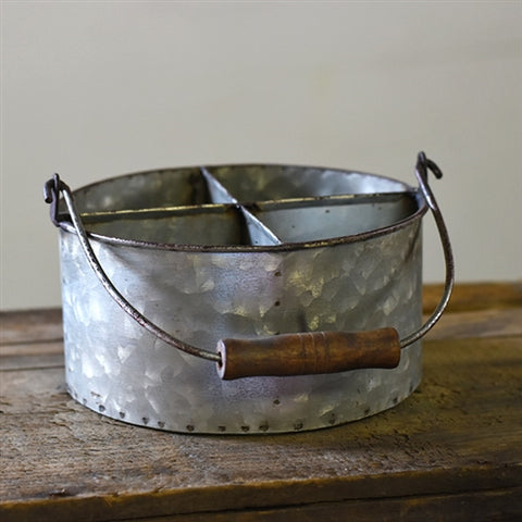 Round Four Sectioned Galvanized Caddy