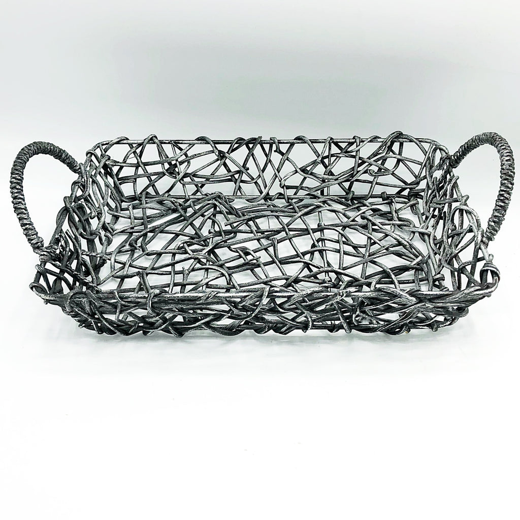Grey Toned Rectangular Open Weave Basket