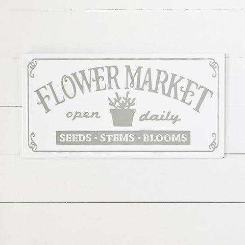 "Flower Market Grey and White 23"" Sign"