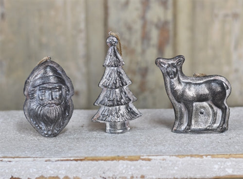 Set of 3 Christmas Mold Ornaments - Santa, Tree, Deer