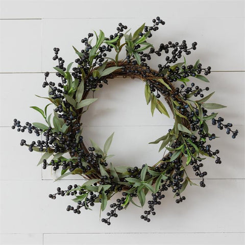 "Botanical Blueberries and Greens 19"" Faux Wreath"