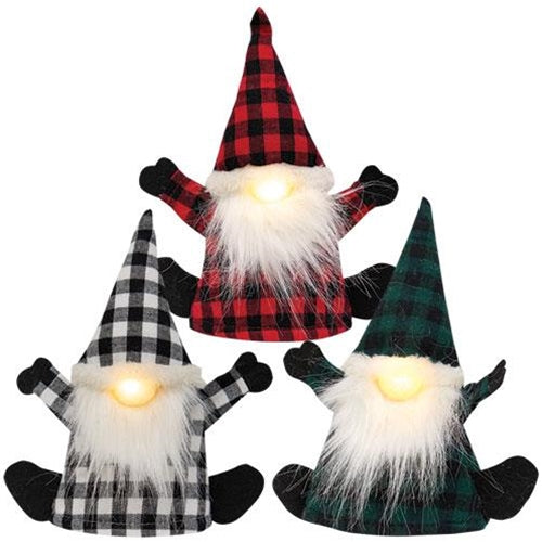 Set of 3 Plaid Gnome Bottle Toppers LIGHT UP!