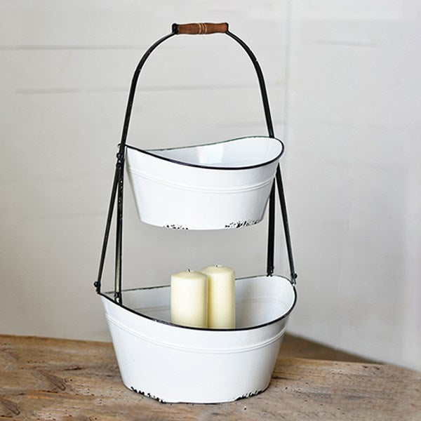 Rustic Two Tier White with Black Trim Bucket Caddy