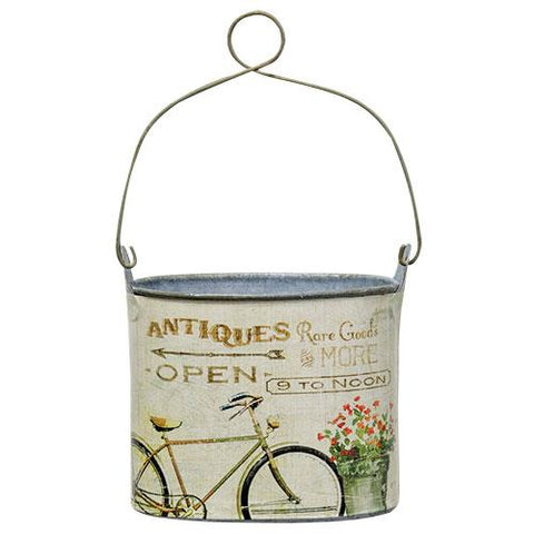 Antiques Themed Print Handled Small Tin Can