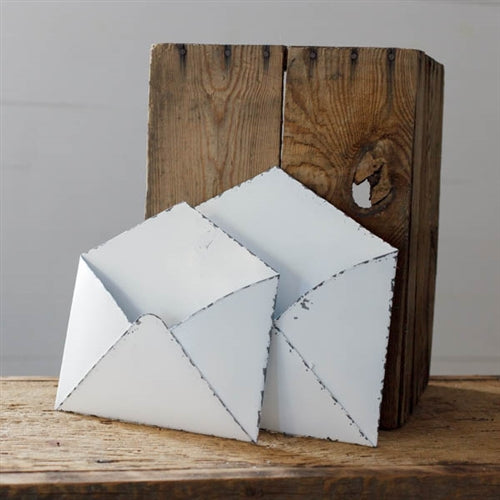 Set of 2 Distressed White Tin Envelope Pockets