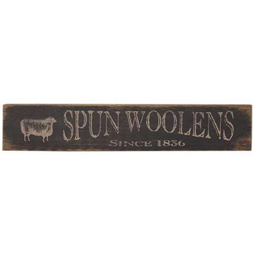 "Spun Woolen Sheep Black and White Distressed 18"" Sign"