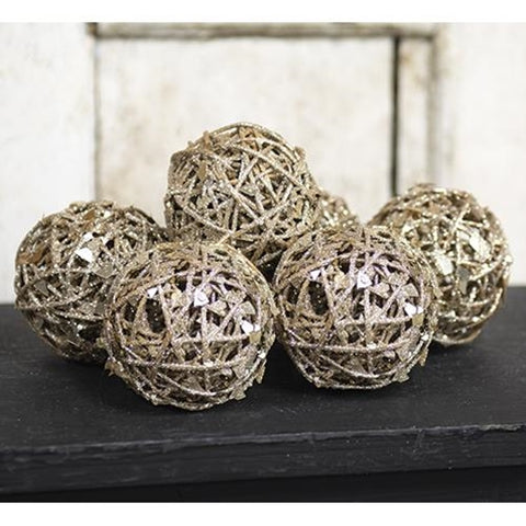 Set of Six Glitter Holiday Decorative Twig Balls
