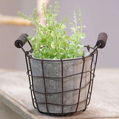 Brown Metal Wire Basket with Cement Pot