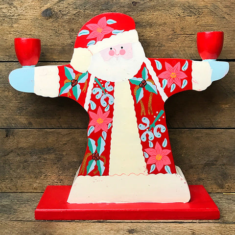 Wooden Santa with Poinsettia Design Double Candle Holder