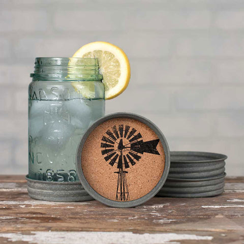 Set of 4 - Mason Jar Lid Coaster - Windmill