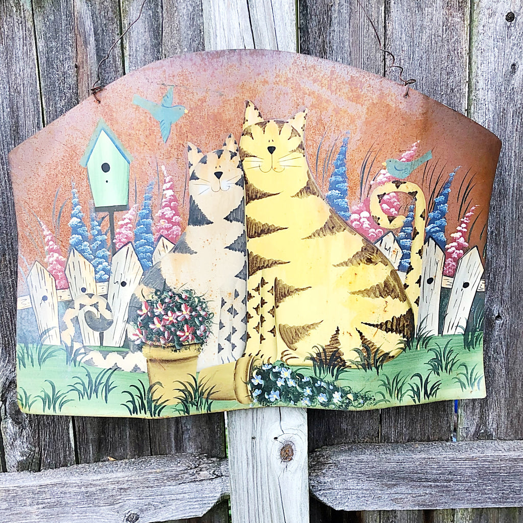 Cats in the Garden Rustic Painted Metal Hanging