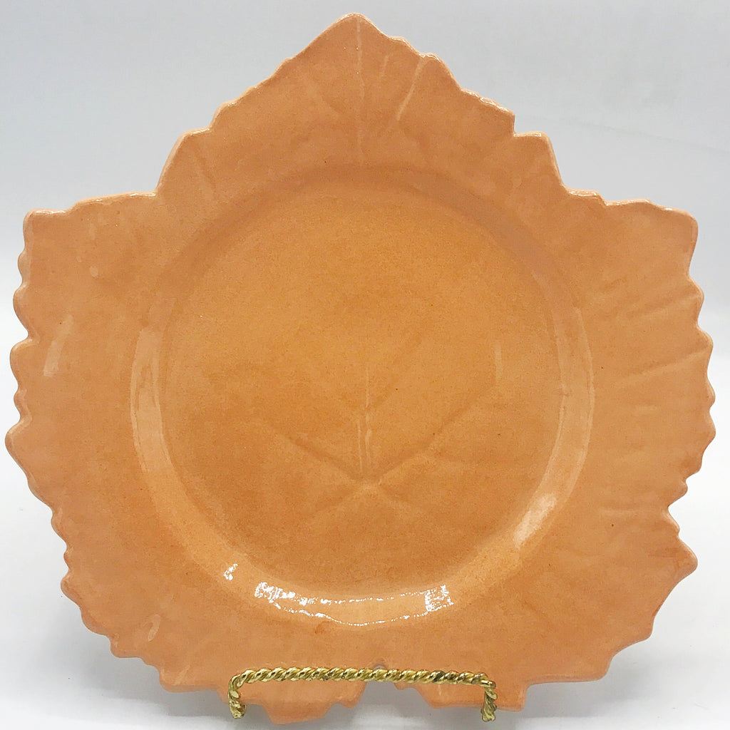 Studio Art Peach Leaf Shaped Pottery Plate Made in France