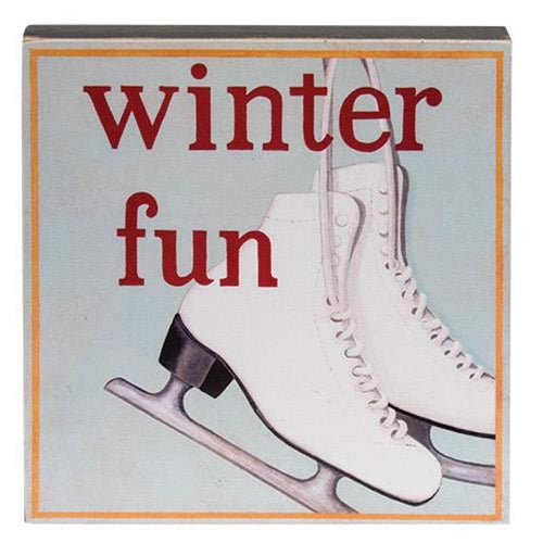Set of 3 Winter Fun Box Signs - snowman ice skates sled