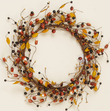 "Pumpkins And Candy Corn 17"" Wreath"