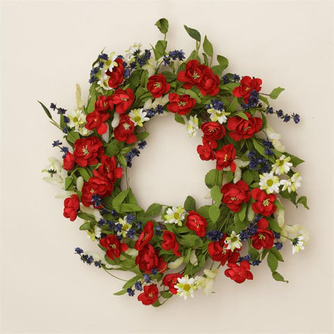 "Americana Daisies & Red White & Blue Blooms on 22"" Twig Wreath"