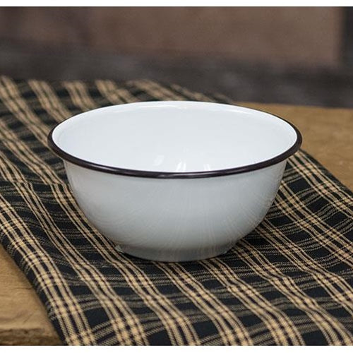 White with Black Rim Enamelware Cereal Bowl