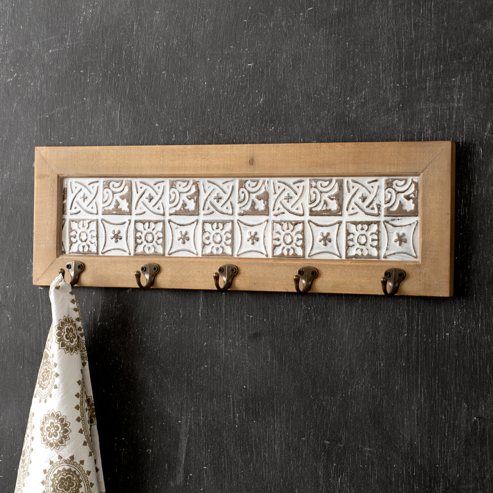 Entryway Natural Blocks Rack with Five Hooks