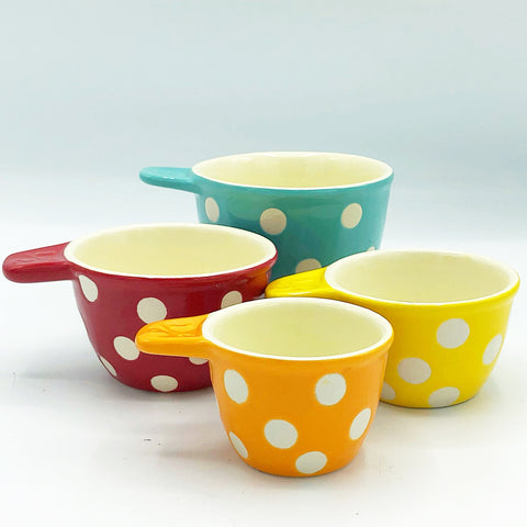 Set of 4 Bright Dots Stoneware Measuring Cups Creative Co-op
