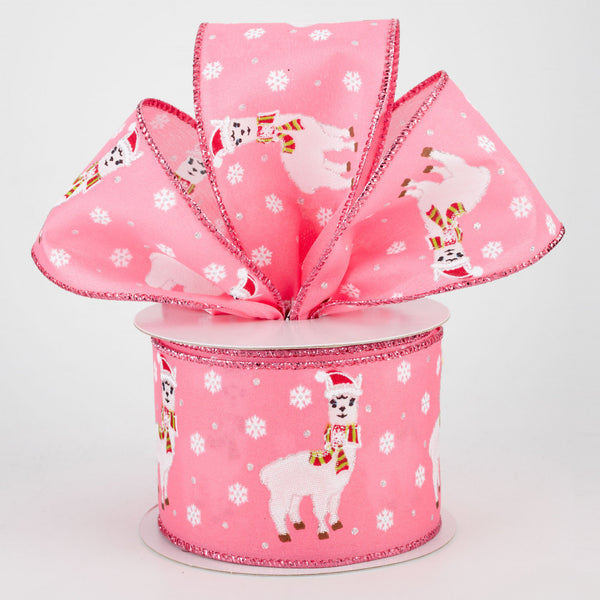 "Christmas Llama Pink Ribbon 2.5"" x 10 yards"