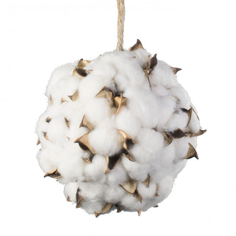 "Cotton Boll Ball Hanging Decor 6"" diameter"