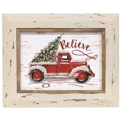 Believe Red Truck with Tree Framed Sign