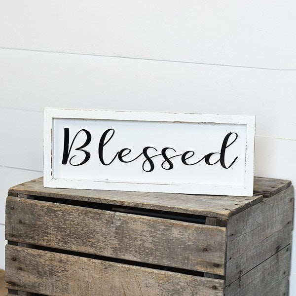 "Blessed 16"" Tin Wood Framed Sign"