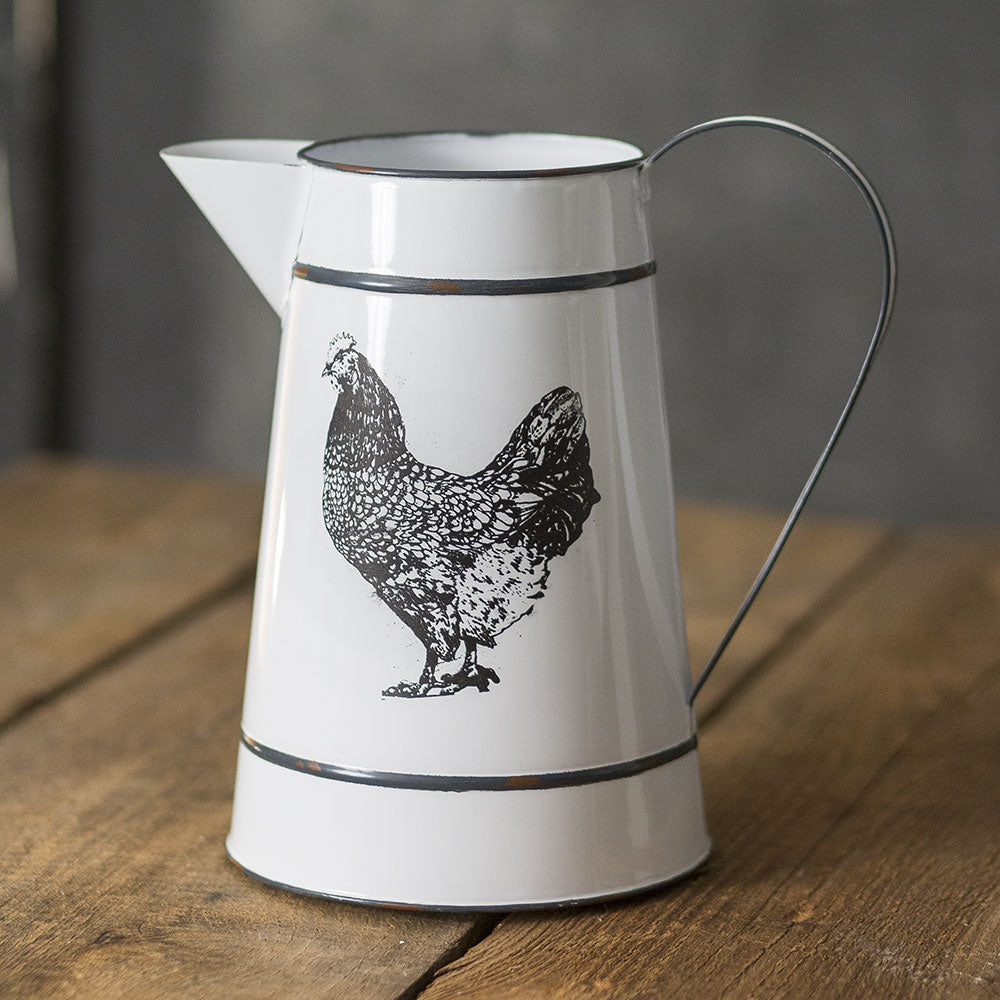 Henny Hen White and Black Metal Pitcher