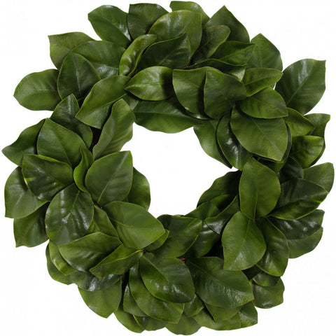 "Farmhouse Magnolia Leaf Faux Wreath - 26"" diameter"