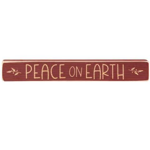 "Peace on Earth 12"" Engraved Wooden Block"