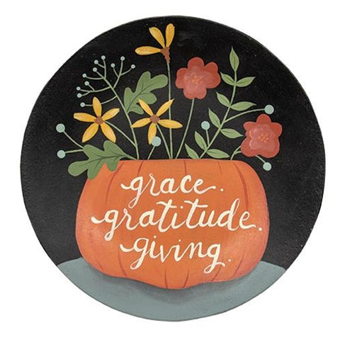 Grace, Gratitude and Giving Flowers in Pumpkin Plate
