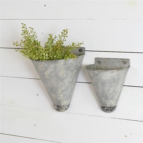 Set of Two Tin Cone Wall Planters