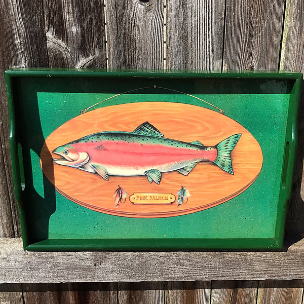 Dept 56 Mounted Pink Salmon Wooden Serving Tray