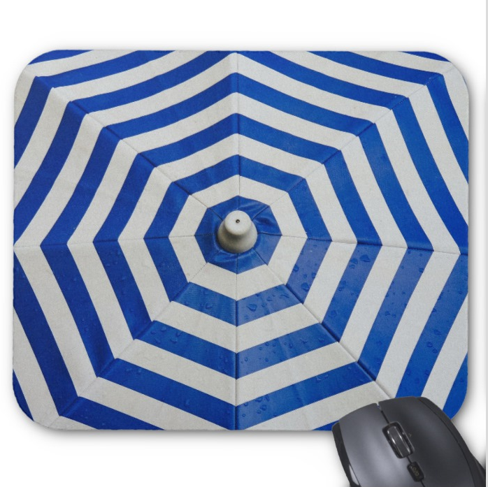 Beach Mousepad - Blue and White Umbrella - Mouse Pad