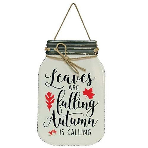 Leaves Are Falling Mason Jar Sign
