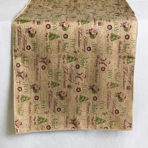 Natural Christmas Icons Table Runner 72""