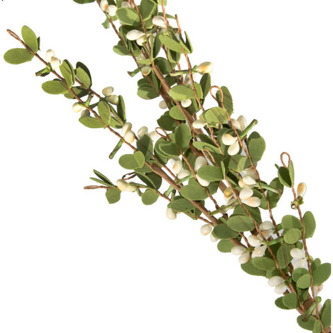 "Boxwood Floral 32"" Spray With Cream Berries"