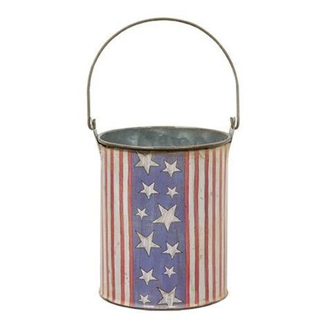 "Americana Stars and Stripes Small 4.5"" H Pail"