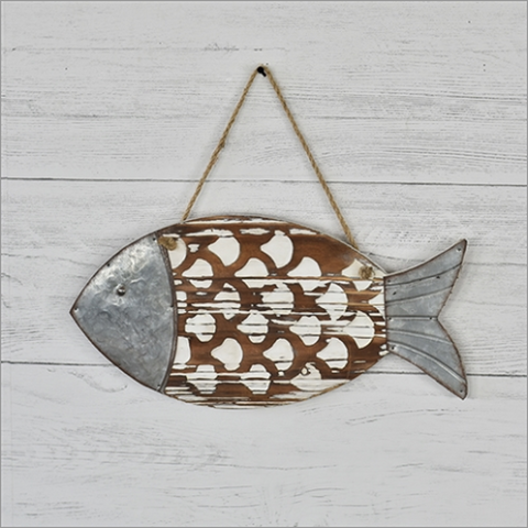 Rustic Nautical Hanging Wood and Tin Fish