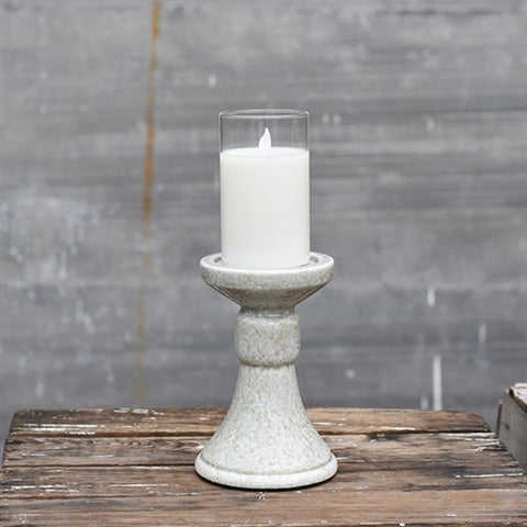 "Stone Colored 7"" Candle Pillar Holder"