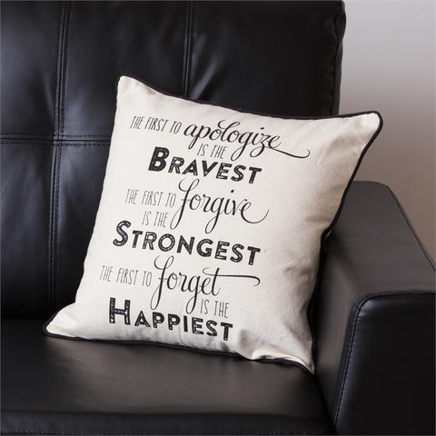 Words to Live By Throw Pillow - Bravest Strongest Happiest
