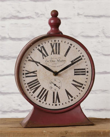 Vintage-style Red Mantel Clock Tabletop