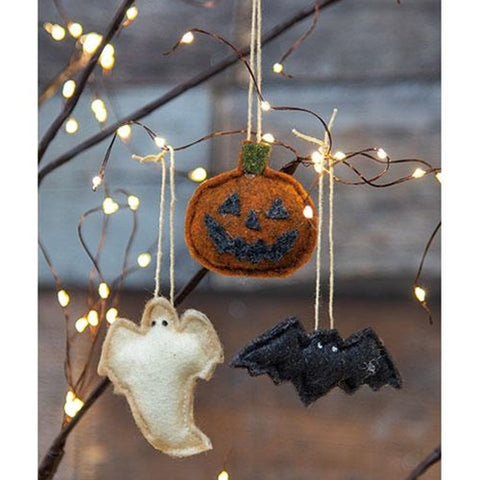 Set of 3 Halloween Felt Ornaments - Ghost Jack O' Lantern Bat