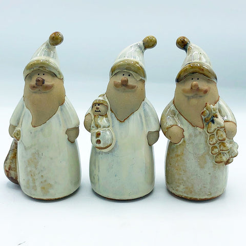 Set of 3 Santa Stoneware Glazed Figures