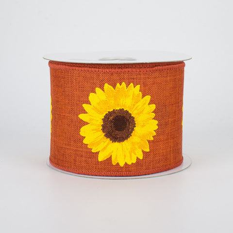 "Bold Sunflower on Harvest Orange Background Ribbon 2.5"" W x 10 yards"