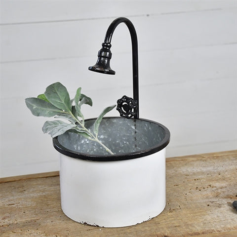 Spigot Black and White Planter