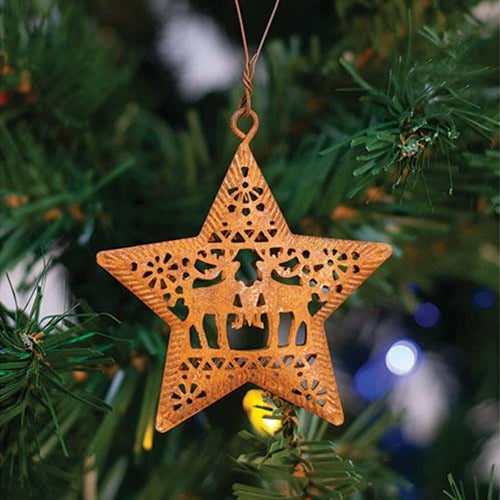 Set of 6 Rusty Reindeer Star Christmas Ornaments